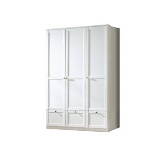 Šatníková skriňa VANNES biela, 3-dverová/3 zásuvky