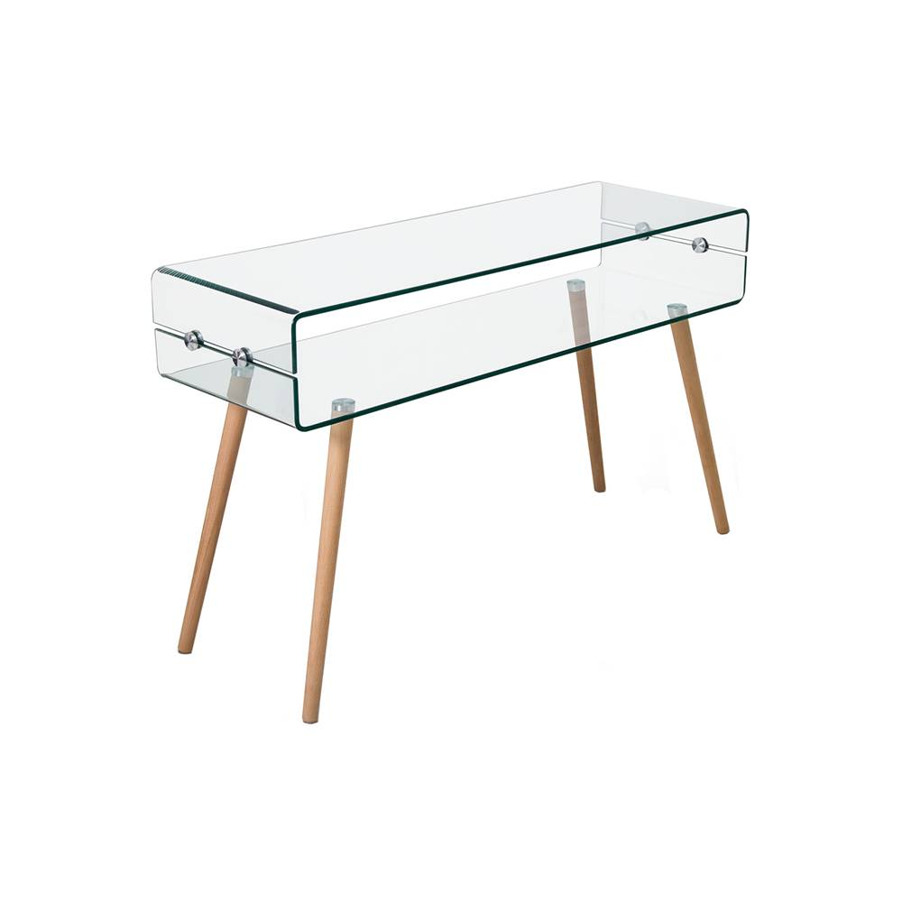 IDEA Nábytok Odkladací stolík sklo/buk