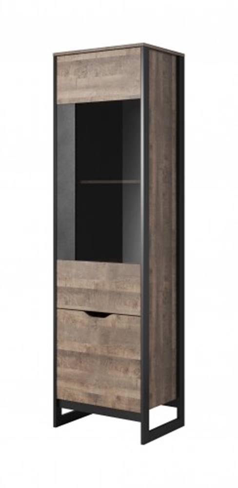 OKAY nábytok Vitrína Laura vysoká, 2 dvere s LED osvetlením