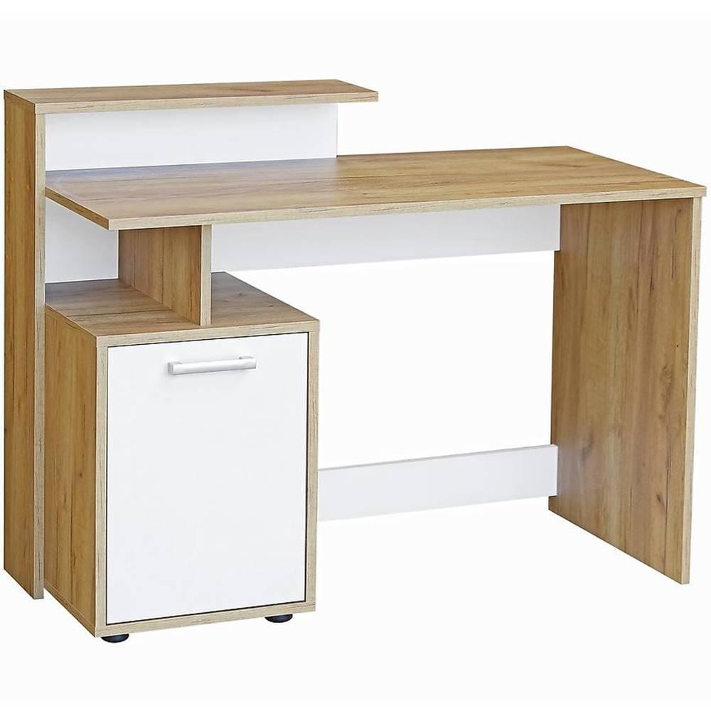 MERKURY MARKET Písací stôl  DSB 01 craft zlatý/biela