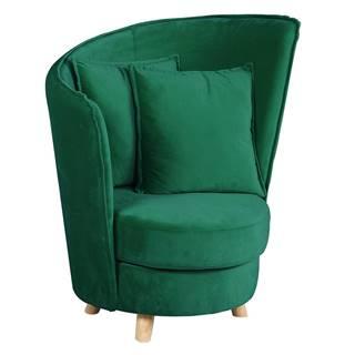 Kreslo v štýle Art Deco smaragdová Velvet látka/dub ROUND
