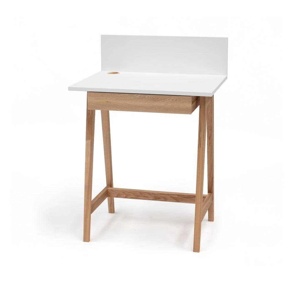 Ragaba Biely písací stôl s podnožím z jaseňového dreva Ragaba Luka, dĺžka 65 cm