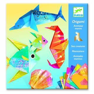 Sada 24 origami papierov s návodom Djeco Neon Glam Sea