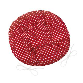 Bellatex Sedák Adela okrúhly prešívaný Srdiečka červená, 40 cm