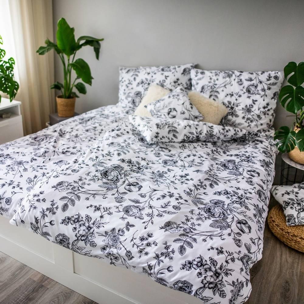 Bellatex Jahu Saténové obliečky Ema BW Flower, 140 x 200 cm, 70 x 90 cm