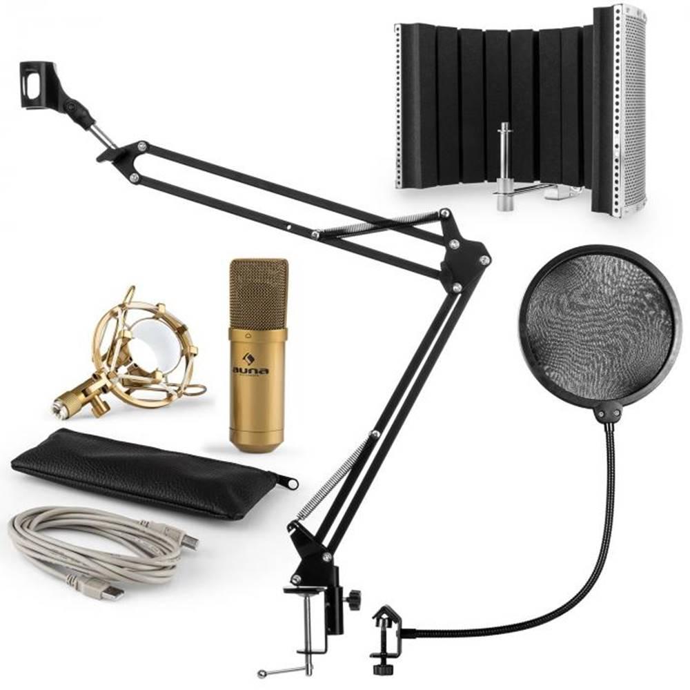 Auna Auna MIC-9005G V5, mikrofónová sada, kondenzátorový mikrofón, pop-filter, resorpčný panel, rameno, zlatá farba