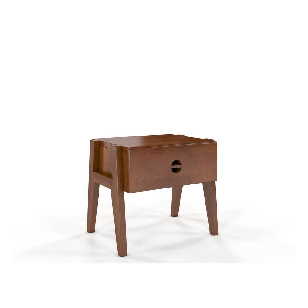Skandica Nočný stolík z bukového dreva so zásuvkou v orechovom dekore Skandica Visby Radom