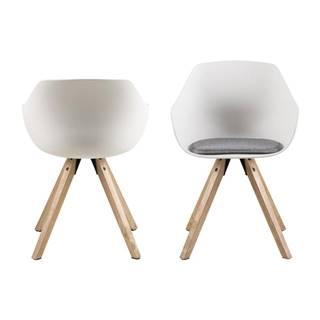 Sada 2 bielych jedálenských stoličiek s nohami z kaučukového dreva Actona Tina