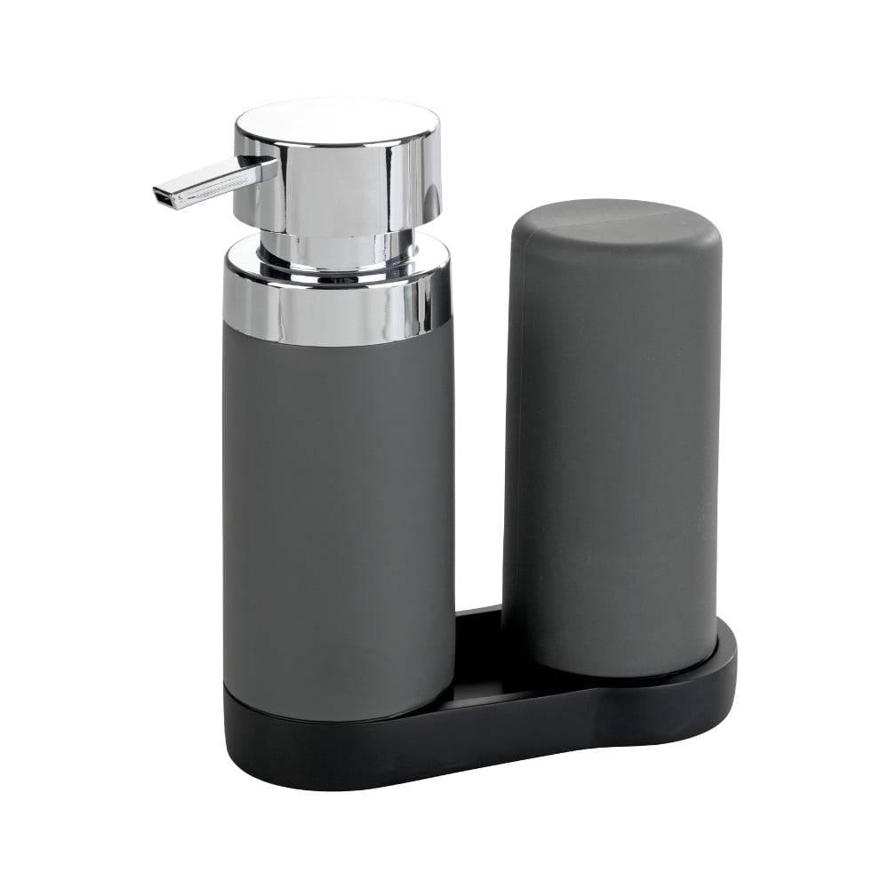 Wenko Sada 2 sivých zásobníkov na umývací prostriedok Wenko Squeeze, 250ml