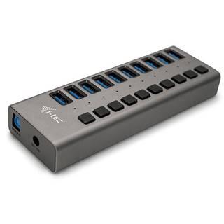 USB Hub i-tec 10x USB 3.0, 48W strieborný