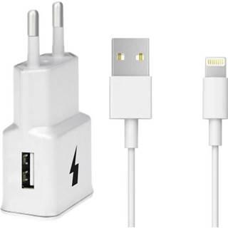 Nabíjačka do siete WG 1xUSB, QC 3.0 + Lightning kabel biela