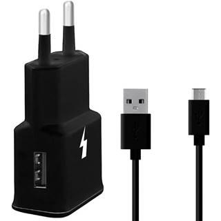 Nabíjačka do siete WG 1xUSB, QC 3.0 + USB-C kabel čierna