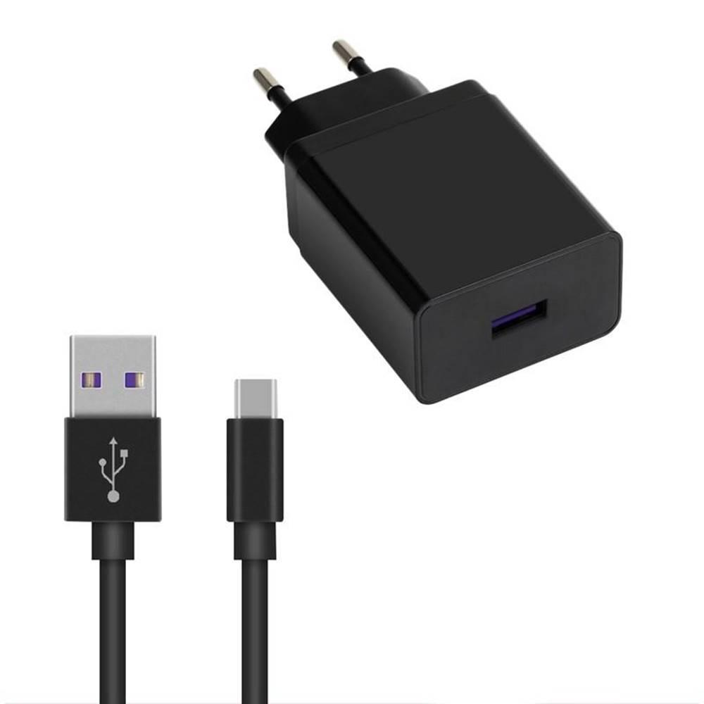 WG Nabíjačka do siete WG 1xUSB, QC 3.0, 22,5W + USB-C kabel čierna