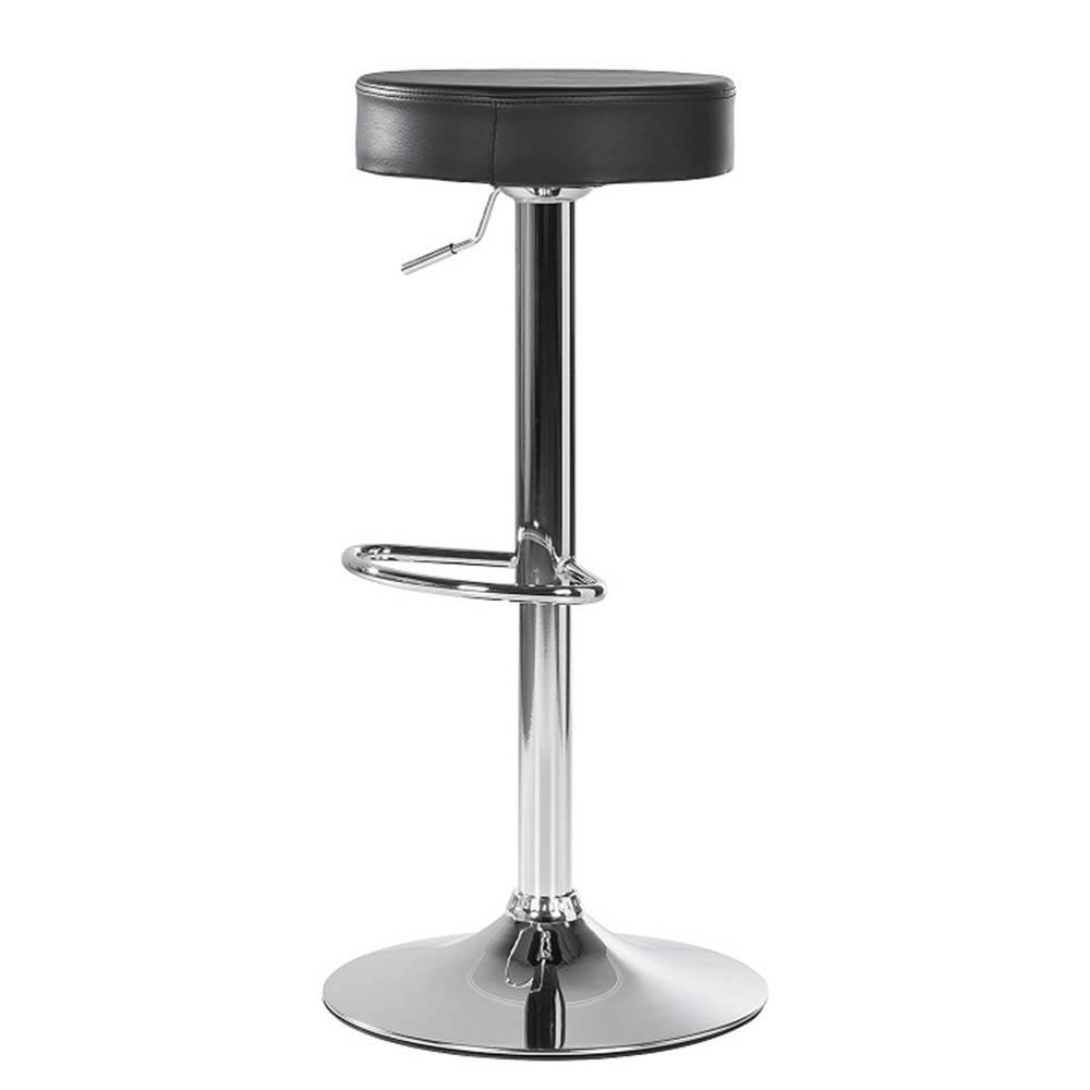 Tempo Kondela Barová stolička čierna ekokoža/chróm ADALIN