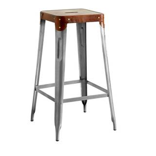 Barová stolička IRON železo almond/hnedý kožený poťah