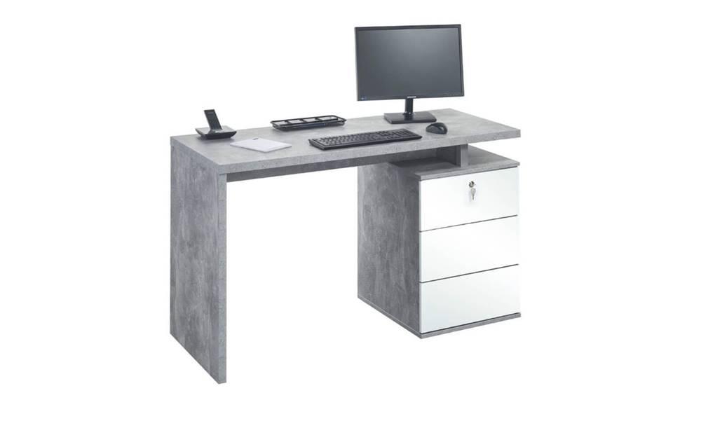 Sconto Pracovný stôl EMERSON betón/biela